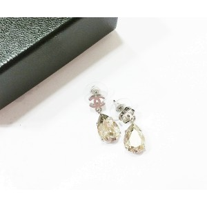 Chanel CC Tear Drop Rhinestone Shiny Earrings