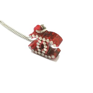 Chanel Red Metallic Silver Nail Necklace