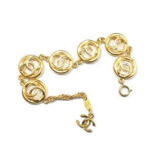 Chanel 18K Gold Plated CC Round Cutout Bracelet