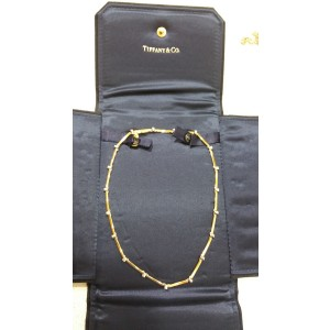 Tiffany & Co. 18K Yellow Gold Bar Link Platinum Diamond Necklace