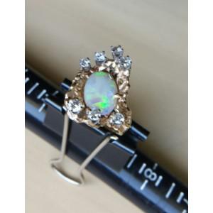 14K Yellow Gold 'Splash' On-Fire Opal  Diamond Ring