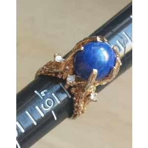 14k Gold Nugget 'Tree Branches' Lapis Lazuli 'Blue Earth' Diamond White 'Stars Ring
