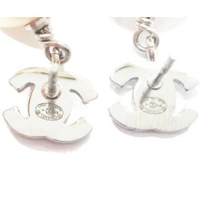 Chanel CC Rhinestone Simulated Glass Pearl Dangle Piercing Earrings