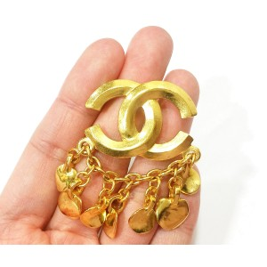 Chanel 18K Gold Plated CC Chain Brooch
