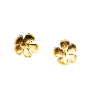 Chanel Gold Plated Red and Green Flower CC Piercing Earrings