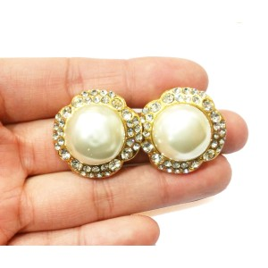 Chanel Gold Tone Flower Rhinestone Simulated Glass Pearl Clip on Earrings