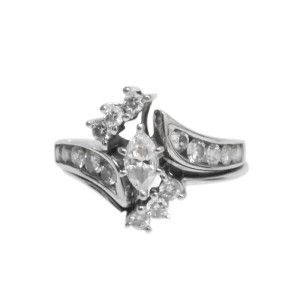 14K White Gold Marquise Engagement and Wedding RIng Size 7