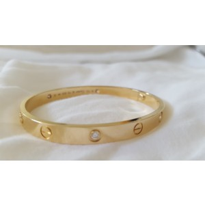 Cartier 18K Yellow Gold & 4 Diamond Love Bracelet Size 18