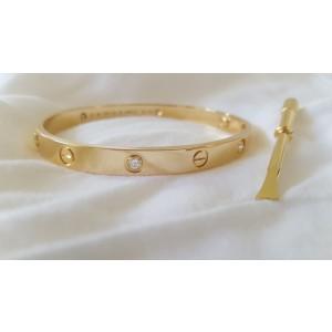 Cartier 18K Yellow Gold & 4 Diamond Love Bracelet Size 18