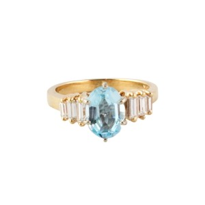 Yellow Gold Aquamarine, Diamond Womens Ring