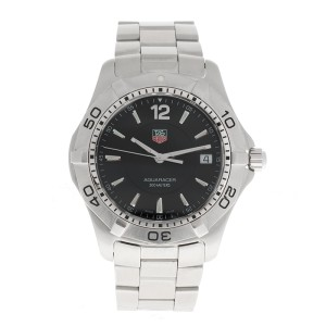 Tag Heuer Aquaracer Date Stainless Quartz WAF1110 Black Dial 38mm Watch