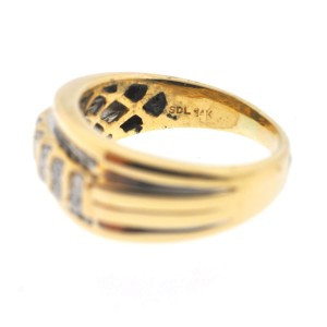 14K Yellow Gold Multi-Row Diamond Mens Ring Size 9