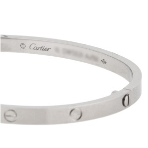 Cartier 18K White Gold Love Bracelet, SM Size 17