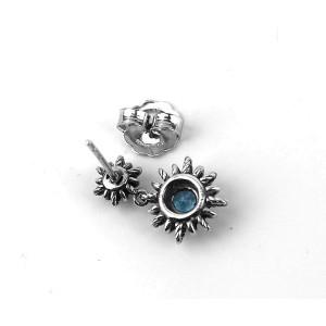 David Yurman Sterling Silver Blue Topaz Starburst Double Drop Earrings