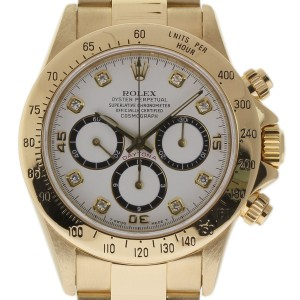 Rolex Daytona 16528 Zenith 18K Yellow Gold White Diamond Dial 40mm Mens Watch