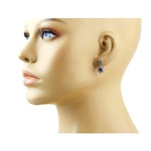 David Yurman 925 Sterling Silver Starburst Double Drop Red Garnet Earrings