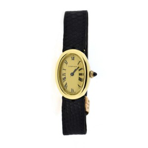 Cartier Baignoire 7743-1 18K Yellow Gold & Leather Manual 22mm Womens Watch