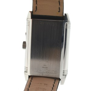 Jaeger LeCoultre Reverso Stainless Steel Leather Strap Watch
