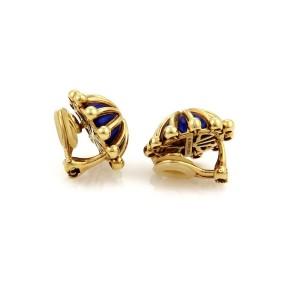 Tiffany & Co. Schlumberger Blue Enamel & 18K Yellow Gold Clip On Dome Earrings