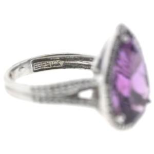 Effy 14K White Gold Pear Shape Amethyst Diamonds Ring Size 6.0