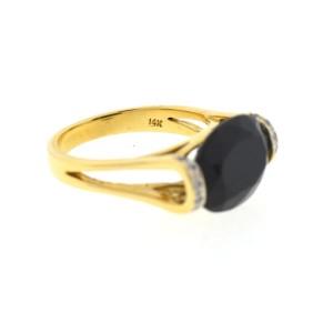 Yellow Gold Onyx, Diamond Womens Ring