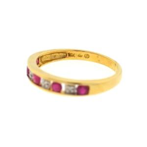 10K Yellow Gold Rubies & 0.04ct. Diamonds Band Ring Size 7.0