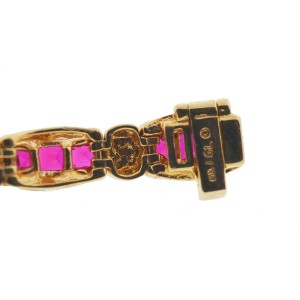 Yellow Gold Diamond, Ruby Mens Bracelet