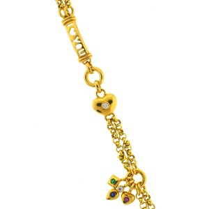 Yellow Gold Diamond, Sapphire, Emerald, Tourmaline Mens Bracelet