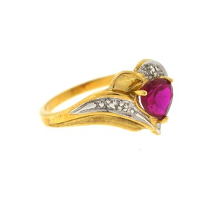 14K Yellow Gold Garnet Diamond Ring Size 7
