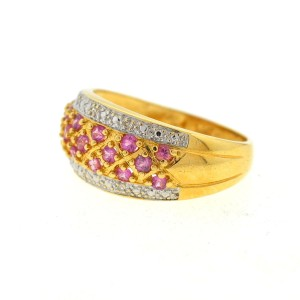 14K Yellow Gold Pink Quartz And Diamond Diamond Ring Size 7.5