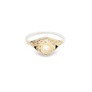 White White Gold Diamond, Sapphire Mens Ring Size 8