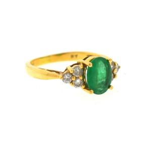 Yellow Gold Emerald, Diamond Womens Ring