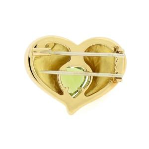 Van Cleef & Arpels 18K Yellow Gold Peridot Heart Pin Brooch