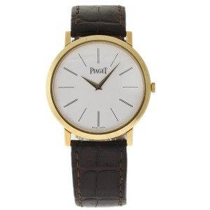 Piaget Altiplano P10175 18K Yellow Gold / Leather 40mm Mens Watch