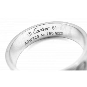 Authentic! Cartier 18k White Gold Love Band Ring Size 61 US 9.5 Certificate