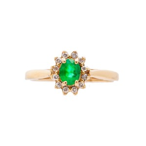 14K Yellow Gold 0.65Ct I SI2 Diamond Green Emerald Ring 2.0 Gr Size 6