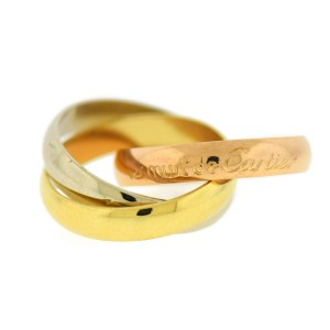 Cartier Trinity 18K Tri Color Gold Ring Size 3.75