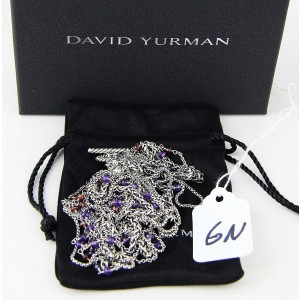 David Yurman Starburst 925 Sterling Silver Amethyst Garnet Bead Necklace
