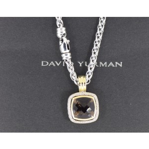 David Yurman Albion 18K Yellow Gold 925 Sterling Silver Quartz Diamond Necklace