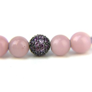David Yurman 925 Sterling Silver Quartz & Rhodalite Garnet Beads Spiritual Bracelet