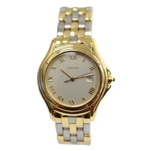Cartier Cougar Panthere 887904C 18K Yellow Gold & Stainless Steel Quartz 33mm Unisex Watch