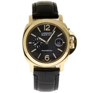 Panerai Luminor Marina PAM00140 18K Yellow Gold with Leather Black Dial 44mm Mens Watch