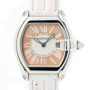 Cartier Roadster 2675 Stainless Steel with Salmon Dial Quartz 33mm Womens Watch