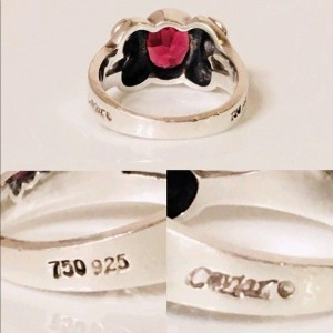 Lagos Caviar Signature Sterling Silver and 18K Yellow Gold with Rhodolite Garnet Ring Size 7