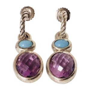 David Yurman Sterling Silver and 14K Yellow Gold with Turquoise Amethyst Drop Earrings