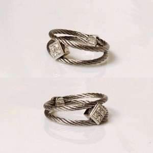 Charriol 18K White Gold and Stainless Steel with Diamond Split Ring Size 6