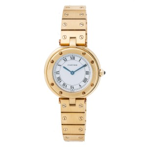 Cartier Santos Midsize Women's Quartz Watch 18K Yellow Gold Vendome 27MM