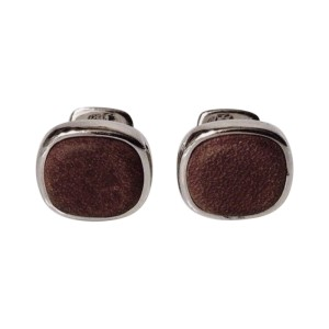 David Yurman Sterling Silver and Brown Leather Cushion Cufflinks