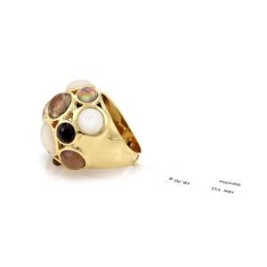 Ippolita Gellato 18K Yellow Gold Mother of Pearl, Quartz & Onyx Dome Ring Size 8.5
