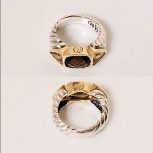David Yurman Mosaic Renaissance Sterling Silver and 18K Yellow Gold with Citrine and Smoky Quartz Ring Size 7